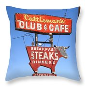Route 66 - Cattleman's Club And Cafe Throw Pillow