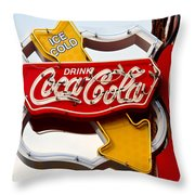 Route 66 Coca Cola Throw Pillow
