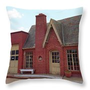 Route 66 - Cottage Style Gas Station Throw Pillow