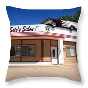 Route 66 - Desoto's Salon Throw Pillow