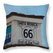 Route 66 - End Of The Trail Throw Pillow by Kim Hojnacki