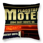 Route 66 Flagstaff Motel Throw Pillow