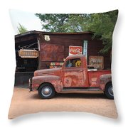 Route 66 Garage And Pickup Throw Pillow