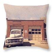 Route 66 Garage Throw Pillow