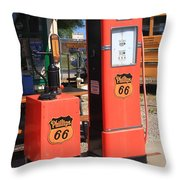 Route 66 Gas Pumps Throw Pillow