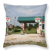 Route 66 Gas Station With Sponge Painting Effect Throw Pillow