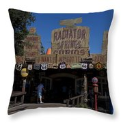 Route 66 Gift Shop Disneyland Throw Pillow