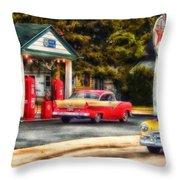 Route 66 Historic Texaco Gas Station Throw Pillow