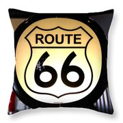 Route 66 Lighted Sign Throw Pillow