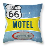 Route 66 Motel Throw Pillow by Linda Woods