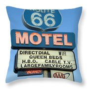 Route 66 Motel Sign 3 Throw Pillow