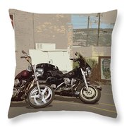 Route 66 Motorcycles With A Dry Brush Effect Throw Pillow