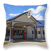 Route 66 - Odell Gas Station 7 Throw Pillow