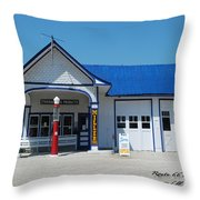 Route 66 Odell Il Gas Station 01 Throw Pillow
