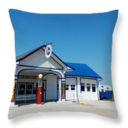 Route 66 Odell Il Gas Station 02 Throw Pillow