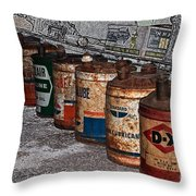 Route 66 Odell Il Gas Station Oil Cans Digital Art Throw Pillow
