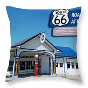 Route 66 Odell Il Gas Station Signage 01 Throw Pillow