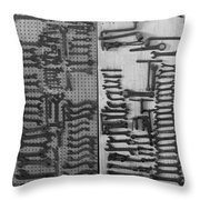 Route 66 Odell Il Gas Station Tools Black And White Throw Pillow