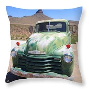 Route 66 - Old Green Chevy Throw Pillow