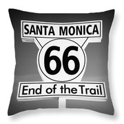 Route 66 Sign In Santa Monica In Black And White Throw Pillow