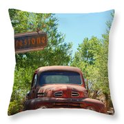Route 66 Truck Throw Pillow