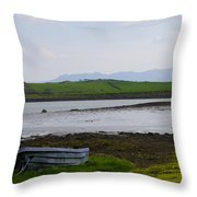 Row Boat At Low Tide - County Mayo Ireland Throw Pillow