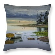 Row Boat By Mount Desert Island Throw Pillow