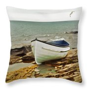 Row Boat On Rocky Shore Throw Pillow