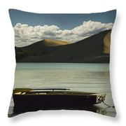Row Boat On Silver Lake With Dunes Throw Pillow