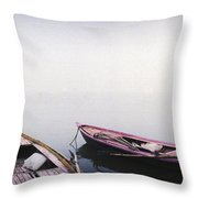 Row Boats In A River, Ganges River Throw Pillow
