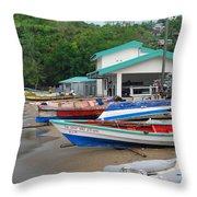 Row Boats On Beach Throw Pillow