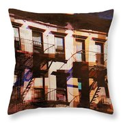 Row Houses - Old Buildings And Architecture Of New York City Throw Pillow