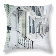 Row Houses On A Snowy Day Throw Pillow by Edward Fielding