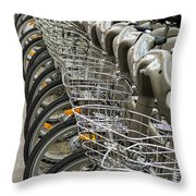 Row Of Bicycles Throw Pillow