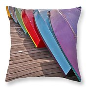Row Of Colorful Boats Art Prints Throw Pillow