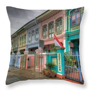 Row Of Historic Colorful Peranakan House Throw Pillow