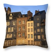 Row Of Houses. Honfleur Harbour. Calvados. Normandy. France. Europe Throw Pillow by Bernard Jaubert