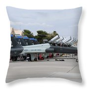 Row Of T-38c Trainer Jets At Nellis Air Throw Pillow