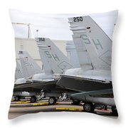 Row Of U.s. Marine Corps Fa-18 Hornet Throw Pillow