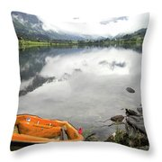 Row Your Boat To The Briksdalsbreen Glacier Throw Pillow