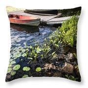 Rowboat At Lake Shore At Dusk Throw Pillow by Elena Elisseeva