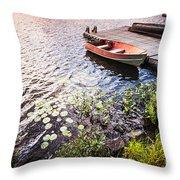 Rowboat At Lake Shore At Sunrise Throw Pillow