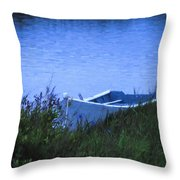 Rowboat In Grass Throw Pillow