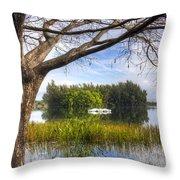 Rowboats At The Lake Throw Pillow