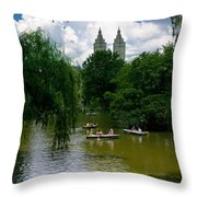 Rowboats Central Park New York Throw Pillow
