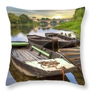 Rowboats On The French Canals Throw Pillow