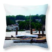 Rowboats Piled At Dock Throw Pillow