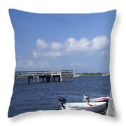 Rowboats Tied To Dock Throw Pillow