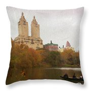 Rowers In Central Park Throw Pillow