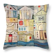 Rowhouses Triptych Throw Pillow